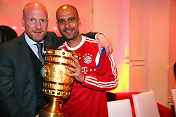 "17.05.2014, T Com, Berlin, GER, DFB Pokal, Bayern Muenchen Pokalfeier, im Bild Josep Guardiola (R), head coach of Bayern Muenchen holds the German DFB Cup Trophy with his sporting director Matthias Sammer Josep Guardiola, Matthias Sammer, // during the FC Bayern Munich ""DFB Pokal"" Championsparty at the T Com in Berlin, Germany on 2014/05/17. EXPA Pictures © 2014, PhotoCredit: EXPA/ Eibner-Pressefoto/ EIBNER<br /> <br /> *****ATTENTION - OUT of GER*****"