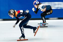 Xandra Velzeboer in action on the 1500 meter during ISU World Cup Finals Shorttrack 2020 on February 15, 2020 in Optisport Sportboulevard Dordrecht.