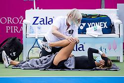 PORTOROZ, SLOVENIA - SEPTEMBER 16: Anna Kalinskaya of Russia and medic during the 3rd Round of WTA 250 Zavarovalnica Sava Portoroz at SRC Marina, on September 15, 2021 in Portoroz / Portorose, Slovenia. Photo by Matic Klansek Velej / Sportida