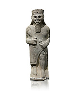 Hittite baslat sculptute of a male, late Hittite Period - 900-700 BC. Adana Archaeology Museum, Turkey. Against a white background .<br /> <br /> If you prefer to buy from our ALAMY STOCK LIBRARY page at https://www.alamy.com/portfolio/paul-williams-funkystock/hittite-art-antiquities.html . Type - Adana - in LOWER SEARCH WITHIN GALLERY box. Refine search by adding background colour, place, museum etc<br /> <br /> Visit our HITTITE PHOTO COLLECTIONS for more photos to download or buy as wall art prints https://funkystock.photoshelter.com/gallery-collection/The-Hittites-Art-Artefacts-Antiquities-Historic-Sites-Pictures-Images-of/C0000NUBSMhSc3Oo