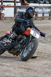 Hooligan flattracker Ethan White (no. 5) on his Harley-Davidson Sportster racer at the Hooligan races on the temporary track in front of the Sturgis Buffalo Chip main stage during the Sturgis Black Hills Motorcycle Rally. SD, USA. Wednesday, August 7, 2019. Photography ©2019 Michael Lichter.
