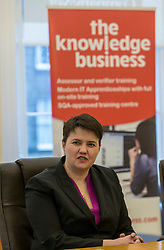 Scottish Conservatives leader, Ruth Davidson, visits the digital business, Company Net, in Edinburgh to mark national apprenticeship week.<br /> <br /> Pictured: L to R, Ruth Davidson