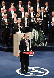 """Nobelpreisverleihung 2016 in der Konzerthalle in Stockholm / 101216 ***Japanese scientist Yoshinori Ohsumi receives the Nobel Prize in physiology or medicine for his research on cell recycling, at an award ceremony in Stockholm on Dec. 10, 2016. Ohsumi elucidated """"autophagy,"""" an intracellular process that degrades and recycles proteins."""