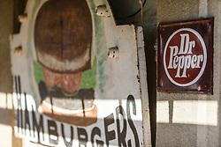Dr. Pepper and Hamburger signs, Waring General Store, Waring, Texas USA