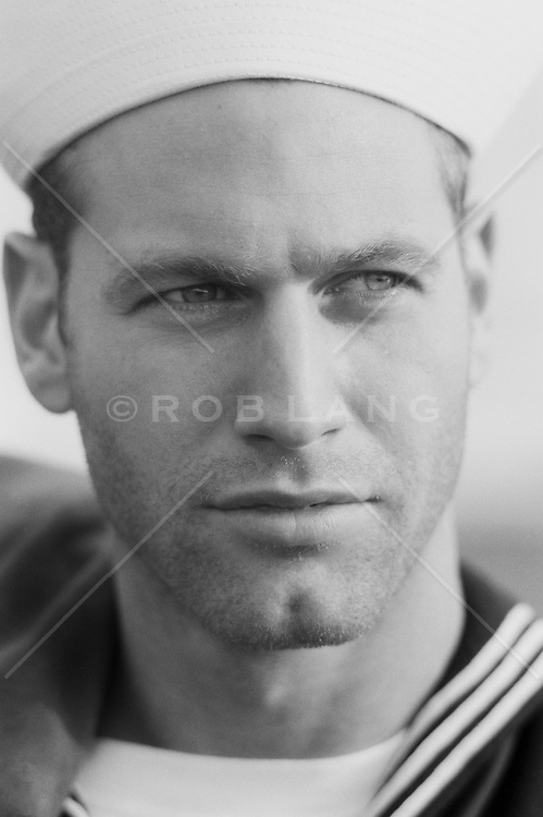 Headshot of a Paul Newman look-a-like sailor, (b&w)