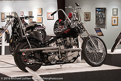 Dan Bacon Carr's DC Choppers' custom 1948 Panhead in Michael Lichter's Skin & Bones tattoo inspired Motorcycles as Art Exhibition at the Buffalo Chip Gallery during the annual Sturgis Black Hills Motorcycle Rally. SD, USA. August 10, 2016. Photography ©2016 Michael Lichter.