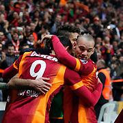 Galatasaray's Umut Bulut celebrate his goal with team mate during their Turkish Super League soccer match Galatasaray between Istanbul Basaksehir at the AliSamiYen Spor Kompleksi TT Arena at Seyrantepe in Istanbul Turkey on Saturday, 14 March 2015. Photo by Aykut AKICI/TURKPIX