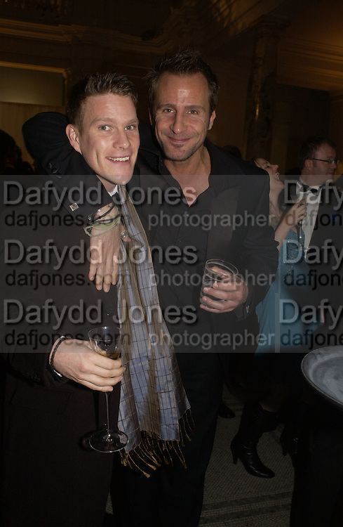 Jono Wolf and Jeremy Sheffield. British Fashion awards 2005. V. & A. Museum. Cromwell Rd. London.   10  November 2005 . ONE TIME USE ONLY - DO NOT ARCHIVE © Copyright Photograph by Dafydd Jones 66 Stockwell Park Rd. London SW9 0DA Tel 020 7733 0108 www.dafjones.com