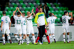 Slovenian players greets their fans after friendly football match between National teams of Slovenia and Belgium, on August 10, 2011, in SRC Stozice, Ljubljana, Slovenia. (Photo by Matic Klansek Velej / Sportida)