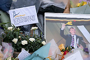 Two days after the killing of the Conservative member of parliament for Southend West, Sir David Amess MP, is a detail of floral tributes left including by members of the Muslim community in Eastwood Road North, a short distance from Belfairs Methodist Church in Leigh-on-Sea, on 17th October 2021, in Leigh-on-Sea, Southend , Essex, England. Amess was conducting his weekly constituency surgery when attacked with a knife by Ali Harbi Ali.
