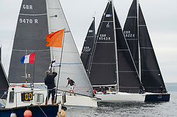 Day 2 Scottish Series, SAILING, Scotland.<br /> <br /> Class 2 Fleet, start, Banshee, Corby, 9470, CCC/RNCYC,  Jings, J109, 8543R, CCC <br /> <br /> The Scottish Series, hosted by the Clyde Cruising Club is an annual series of races for sailing yachts held each spring. Normally held in Loch Fyne the event moved to three Clyde locations due to current restrictions. <br /> <br /> Light winds did not deter the racing taking place at East Patch, Inverkip and off Largs over the bank holiday weekend 28-30 May. <br /> <br /> Image Credit : Marc Turner / CCC