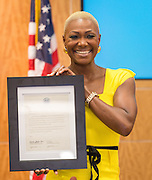 Jolanda Jones is sworn in during ceremonies for newly elected Houston ISD trustees, January 14, 2016.