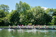 """Henley on Thames, United Kingdom, 22nd June 2018, Friday,   """"Henley Women's Regatta"""",  view, A Heat of the """"Aspirational Academic 8+', gets underway between  """"Oxford Brookes University [A] top and, Bath University, Henley Reach, River Thames,  Thames Valley, England, © Peter SPURRIER/Alamy Live News"""