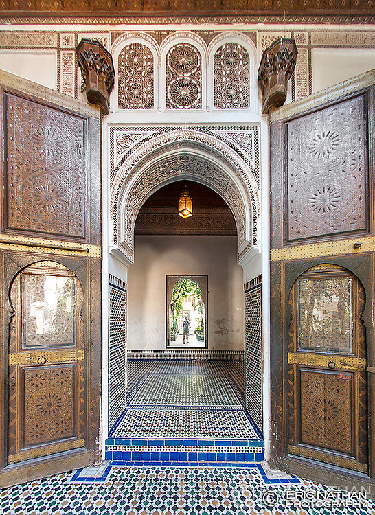 Entrance to one of the rooms in the Bahia Palace in Marrakech, Morocco.