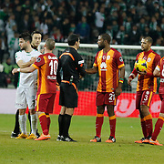 Galatasaray's players celebrate victory during their Turkish Super League soccer derby match Torku Konyaspor between Galatasaray at the Konya Buyuksehir Belediyesi Torku Arena at Selcuklu in Konya Turkey on Saturday, 13 December 2014. Photo by Kurtulus YILMAZ/TURKPIX