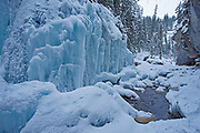 Waterfall along Maligne River in Maligne Canyon, Jasper National Park, Alberta, Canada