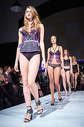 © Licensed to London News Pictures.  05/11/2014. OXFORD, UK. Oxford Fashion Week SS15 Lingerie Show at the Malmaison Hotel in Oxford. <br /> <br /> In this picture: Models wearing outfits created by designer Neon Duchess. <br /> <br /> Photo credit: Cliff Hide/LNP