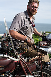 Ryan Allen at the start of the Motorcycle Cannonball coast to coast vintage run. Portland, ME. Friday September 7, 2018. Photography ©2018 Michael Lichter.