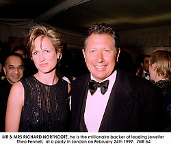 MR & MRS RICHARD NORTHCOTE, he is the millionaire backer of leading jeweller Theo Fennell,  at a party in London on February 24th 1997.LWR 64