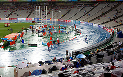 Rain in the afternoon of day three during high jump final at the 2010 European Athletics Championships at the Olympic Stadium in Barcelona on July 29, 2010. (Photo by Vid Ponikvar / Sportida)