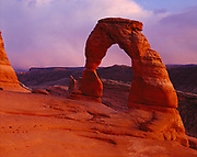Delicate Arch with the LaSal Mountains beyond, Arches National Park, Utah.