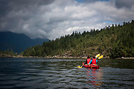 Kayaking on the Sunshine Coast, British Columbia, Canada.<br /> Photo ©Steve Forrest/Workers' Photos