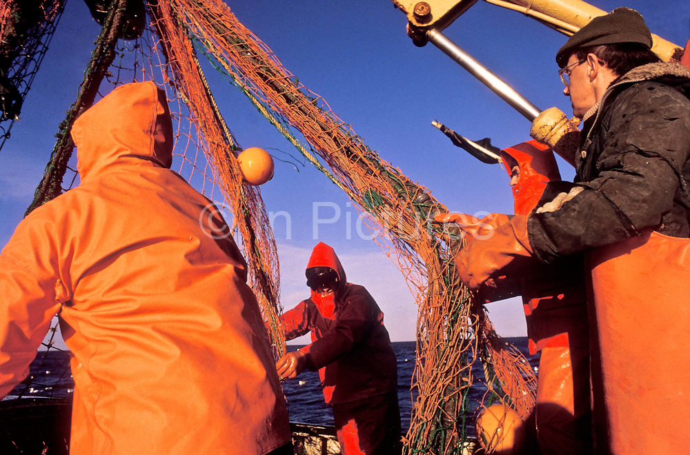 Scottish fishermen bringing in the nets off the north east coast of Scotland.