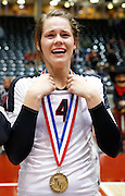 Coppell's Cassidy Pickrell (4) is in tears after receiving her first place medal after beating New Braunfels in the Class 5A state championship at the Curtis Culwell Center in Garland, Texas, on November 17, 2012.  (Stan Olszewski/The Dallas Morning News)