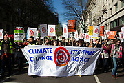 London, UK. Saturday 7th March 2015. Time to Act. Campaign against Climate Change demonstration. Demonstrators gathered in their tens of thousands to protest against all kinds of environmental issues such as fracking, clean air, alternative energies and generally all business which puts profit before the environment.