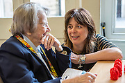 Janet Dabbs of AGE UK Bath talks to local elderly residents about keeping warm this winter at one of the cities day centre. Bath and West Community Energy. Bath, Somerset.Bath and West Community Energy. Bath, Somerset.