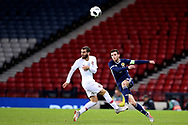Scotland defender Andrew Robertson (3) (Liverpool) and Portugal forward Bernardo Silva (17) (Manchester City)  during the Friendly international match between Scotland and Portugal at Hampden Park, Glasgow, United Kingdom on 14 October 2018.