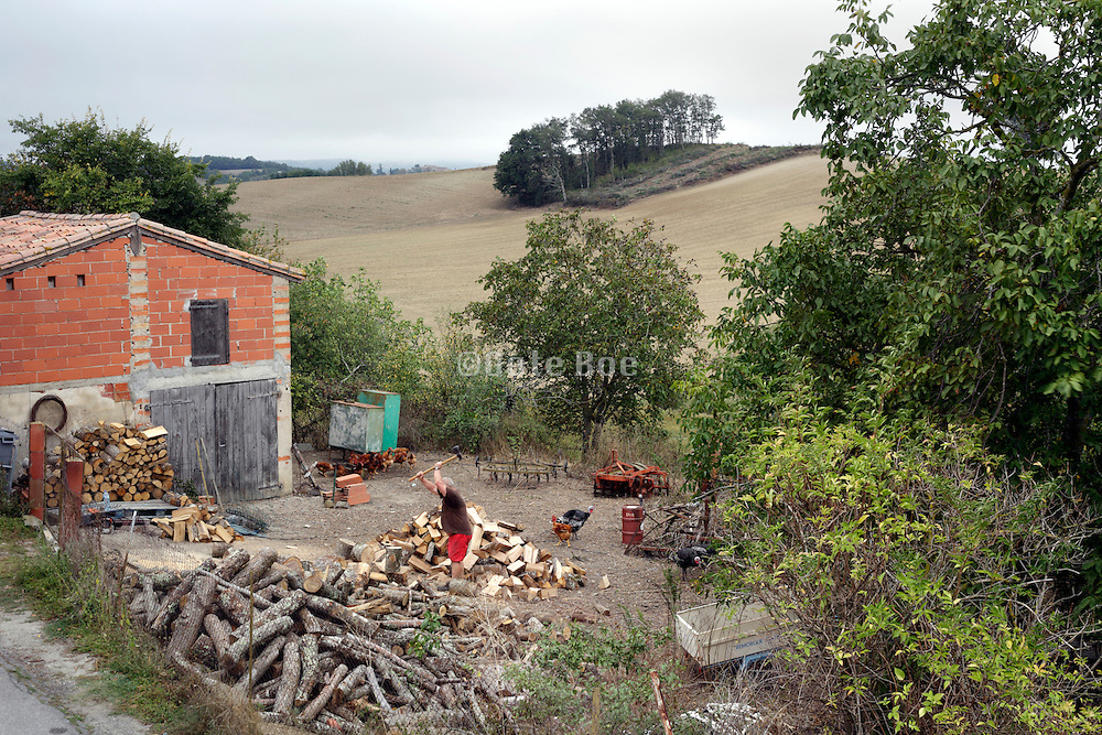 firewood chopping rural France Languedoc Aude Razes