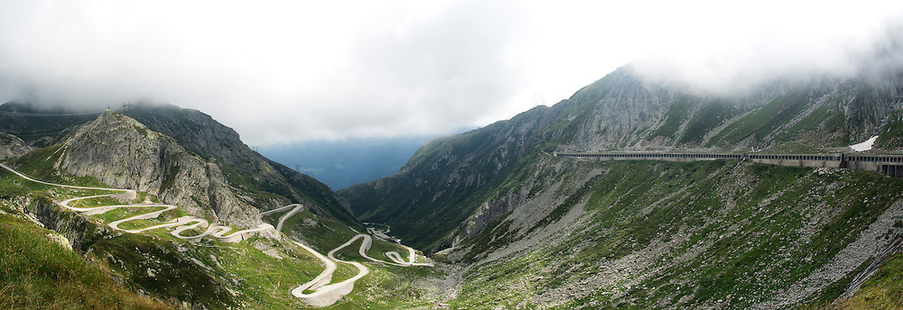 Panorama from the top of St Gotthard Pass, Switzerland.