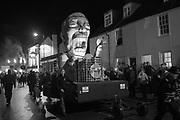 NIGEL FARAGE EFFIGY, Lewes Bonfire night, Nov 5. Lewes East Sussex.