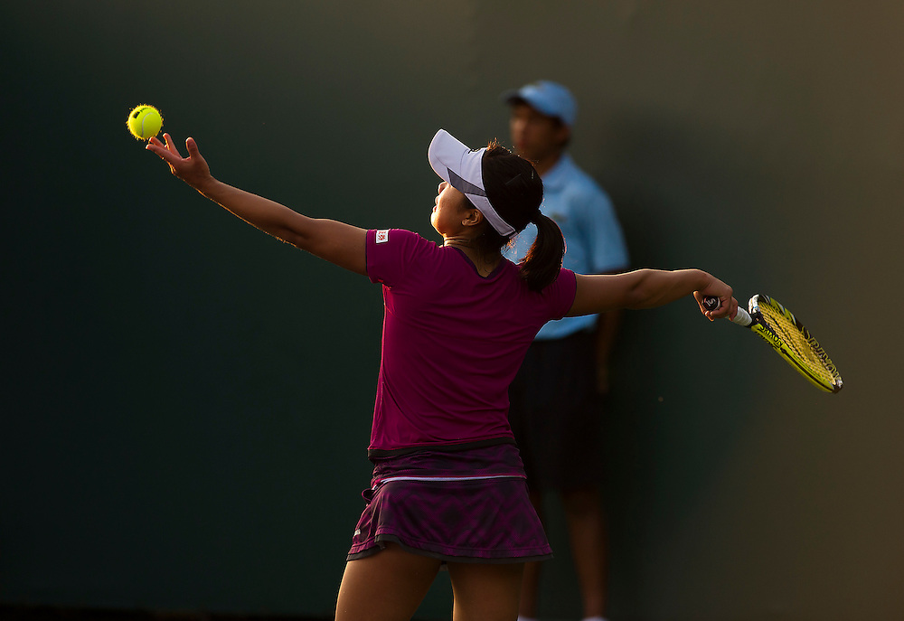 KEY BISCAYNE, FL - March 26: Kurumi Nara (JPN) in action here defeats Caroline Garcia (FRA) 63 76(9) to advance to the 3rd round of the 2015 Miami Open at Key Biscayne, FL.  Photographer Andrew Patron - CameraSport/BigShots<br /> <br /> Tennis - 2015 Miami Open presented by Itau - Crandon Park Tennis Center - Key Biscayne, Florida - USA - Day 4, Thursday 26th March 2015<br /> <br /> © CameraSport - 43 Linden Ave. Countesthorpe. Leicester. England. LE8 5PG - Tel: +44 (0) 116 277 4147 - admin@camerasport.com - www.camerasport.com