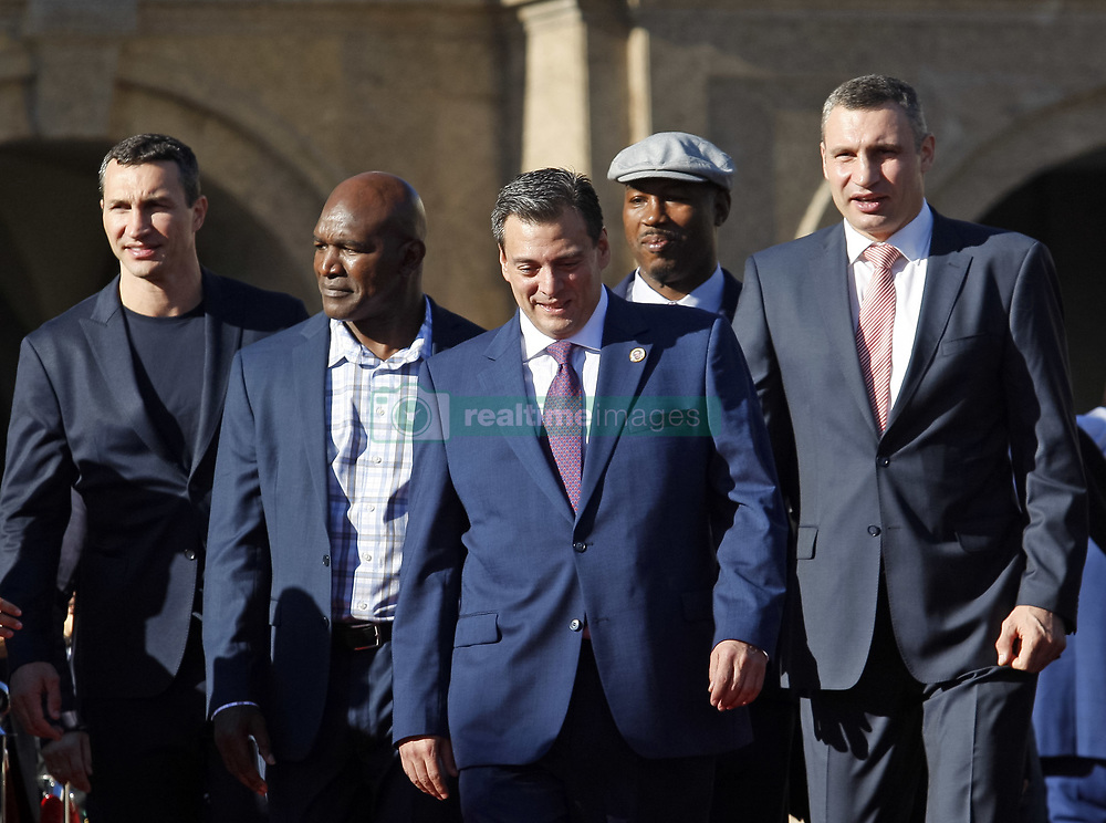 October 1, 2018 - Kiev, Ukraine - (L-R) Ukrainian heavyweight boxing champion Vladimir Klitschko,ex boxing champion of the World Evander Holyfield, WBC President Mauricio Sulaiman,ex boxing champion Lennox Lewis and Kiev's Mayor and ex heavyweight boxing champion Vitali Klitschko attend an official opening of the 56th WBC ( World Boxing Council ) Convention in Kiev, Ukraine, 01 October, 2018. The 56th WBC Convention takes place in Kiev from September 30 to October 05. The event participate of boxing legends Lennox Lewis, Evander Holyfield, Eric Morales, Alexander Usik, Vitali Klitschko and about 700 congress participants from 160 countries. (Credit Image: © Str/NurPhoto/ZUMA Press)
