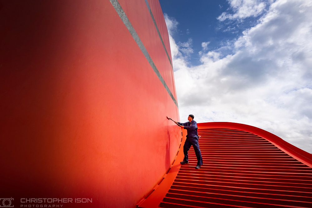 Crew members on board Cunard's Queen Elizabeth prepare the ship for her first voyage since the pandemic<br /> Picture date: Friday August 6, 2021.<br /> Photograph by Christopher Ison ©<br /> 07544044177<br /> chris@christopherison.com<br /> www.christopherison.com<br /> <br /> IMPORTANT NOTE REGARDING IMAGE LICENCING FOR THIS PHOTOGRAPH: This image is supplied to the client under the terms previously agree. No sales are permitted unless expressly agreed in writing by the photographer.