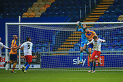 Elliott Justham (1) of Dagenham & Redbridge catches the ball during the The FA Cup match between Mansfield Town and Dagenham and Redbridge at the One Call Stadium, Mansfield, England on 29 November 2020.