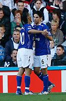 Photo: Steve Bond.<br />Derby County v Everton. The FA Barclays Premiership. 28/10/2007. Mikel Arteta (R) celebrates with Steven Pienaar