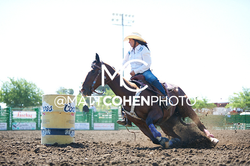 Barrel racer Sheena Robbins of Fresno, CA competes at the Livermore Rodeo in Livermore, CA<br /> <br /> <br /> UNEDITED LOW-RES PREVIEW<br /> <br /> <br /> File shown may be an unedited low resolution version used as a proof only. All prints are 100% guaranteed for quality. Sizes 8x10+ come with a version for personal social media. I am currently not selling downloads for commercial/brand use.