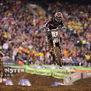 Jacob Baumert, Kawasaki, in action during the 250SX Class Championship during round 16 of the Monster Energy AMA Supercross series held at MetLife Stadium. 62,217 fans attended the event held for the first time at MetLife Stadium, New Jersey, USA. 26th April 2014. Photo Tim Clayton