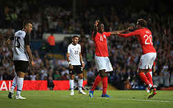 England's Danny Welbeck (centre) celebrates scoring his side's second goal of the game with team-mate Dele Alli during the International Friendly match at Elland Road, Leeds.