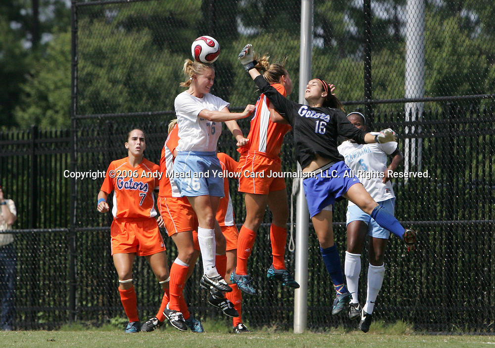 North Carolina's Ali Hawkins (76) and Florida's Brittni Goodwin (16) challenge for the ball on Sunday September 17th, 2006 at Koskinen Stadium on the campus of the Duke University in Durham, North Carolina. The University of North Carolina Tarheels defeated the University of Florida Gators 1-0 in an NCAA Division I Women's Soccer game.