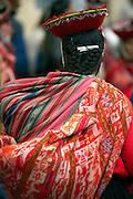 Back of woman at market  Ollantaytambo, Peru
