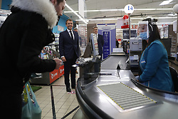 French President Emmanuel Macron talks with employees as he visits a Super U supermarket about the partnership with local producers in Saint-Pol-de-Leon during a day trip centered on agriculture amid the coronavirus disease (COVID-19) outbreak in Brittany, France, April 22, 2020. Photo by Stephane Mahe/Pool/ABACAPRESS.COM