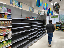 © Licensed to London News Pictures. 02/04/2021. London, UK. Empty shelves in the Easter eggs aisle at a Waitrose supermarket in South London this morning as the Nation prepares to celebrate the Easter holidays with other family members now that some Covid-19 restrictions have been lifted. Photo credit: Alex Lentati/LNP
