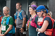 High Point, New Jersey - Runners listen to instructions before the start of the Shawangunk Ridge Trail Run/Hike 70-mile race at High Point State Park on Sept. 15, 2017.