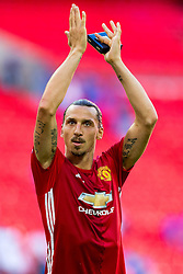 Goalscorer Zlatan Ibrahimovic celebrates after Manchester United win the match 1-2 - Rogan Thomson/JMP - 07/08/2016 - FOOTBALL - Wembley Stadium - London, England - Leicester City v Manchester United - The FA Community Shield.