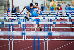 Demsar Filip Jakob competes in Men's 100m hurldes sprint during day one of the 2020 Slovenian Cup in ZAK Stadium on July 4, 2020 in Ljubljana, Slovenia. Photo by Grega Valancic / Sportida