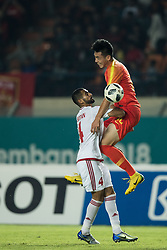 BANDUNG, Aug 19,2018  Feng Boyuan (R) of China competes during the men's football Group C match between China and the United Arab Emirates at the 18th Asian Games 2018 in Bandung, Indonesia on Aug. 19, 2018. (Credit Image: © Wu Zhuang/Xinhua via ZUMA Wire)